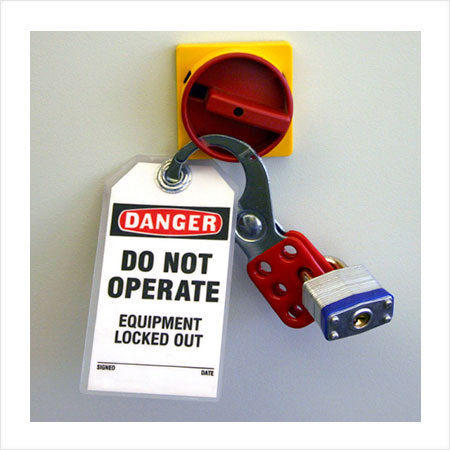 Lockout tag that reads Danger Do Not Operate Equipment Locked Out