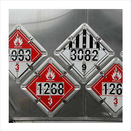 Signage depicting the types of dangerous goods contained within