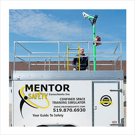 Mentor Safety Confined Space Training Simulator - a trailer with a boom to lower the trainee into an enclosed space